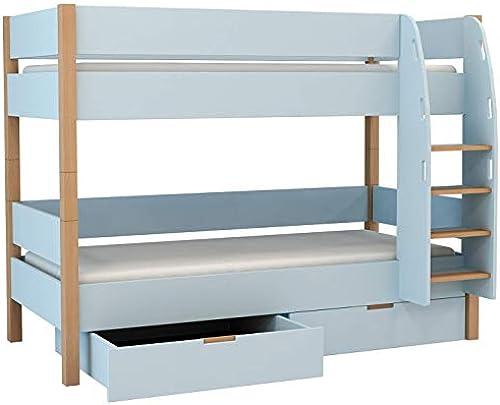 Etagenbett mit Bettkasten 90x200 Stückbett mit Schubladen DoppelStückbett 90x200 inkl. Lattenrost und Absturzsicherung, Liegefl e 90 x 200cm  , aus MDF und Buche (Blau, Für die Lagerung)
