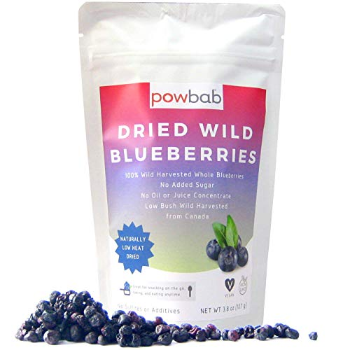 powbab Dried Wild Blueberries 100% Whole Dried Blueberries No Sugar Added No Sunflower Oil No Apple Juice Concentrate No Sulfites Unsweetened Blueberries for Keto Gluten Free Vegan