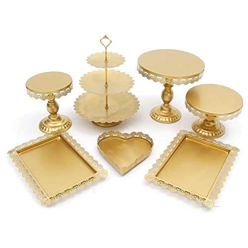 MEETOZ 7Pcs Cake Stand and Pastry Trays Metal Cupcake Holder Fruits Dessert Display Plate for Baby Shower Wedding Birthday Party Celebration