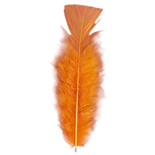 Amakando 50 Plumes déco pour Bricolage plumules Orange - Environ 10 cm Plume Douce Accessoire Samba
