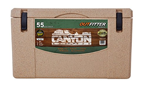 Canyon Coolers Heavy Duty Outfitter 55 Quart Insulated Storage Cooler with Reliable Latches and Airtight Seal for Indoor or Outdoor Events, Sandstone