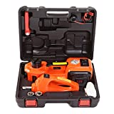 KINGCAV 5 Tons Electric Car Jack Kit Hydraulic Floor Jack 12V Emergency Car Kit 155-450mm Lifting Range Car Jack Trolley with Wrench Spanner Air Inflating