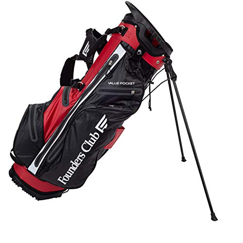Founders Club Waterproof Golf Stand Bag Ultra Dry for Rainy Days on The Golf Course Light Weight 14 Way Full Length Divider with Dual Padded Carry Strap (Red)