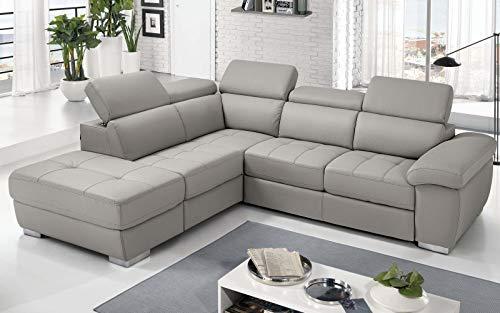 Dafnedesign.Com - Sofá cama esquinero de 3 plazas con chaise longue a la izquierda Piel sintética Light Grey (cm. 285 x 245 x 97 cm.