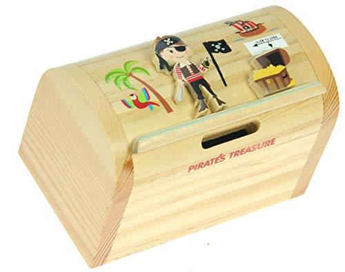 Piraat en schat: spaarpot met geheim Lock: handcrafted hout: Top Kerstmis en verjaardag geschenk- idee: Kwaliteit Traditionele kerstgeschenk voor jongens, voor meisjes, voor hem, voor U, voor kinderen & for Fun liebend volwassenen. (maat 12.3 x 9.5 x 7.5 cm)