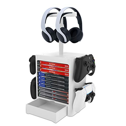 NexiGo Headset and Game Organizer (up to 10 Games) for PS5 PS4 Playstation/Xbox Series S & X/Switch Accessories, Headphones, Game Discs, Joy Cons, DualSense, Controllers, White