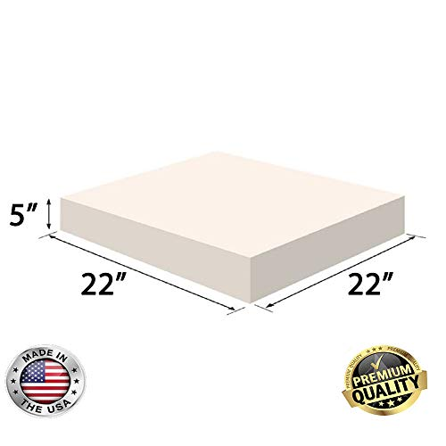 FoamRush 5' x 22' x 22' Upholstery Foam High Density Firm Foam Soft Support (Chair Cushion Square Foam for Dinning Chairs, Wheelchair Seat Cushion Replacement)