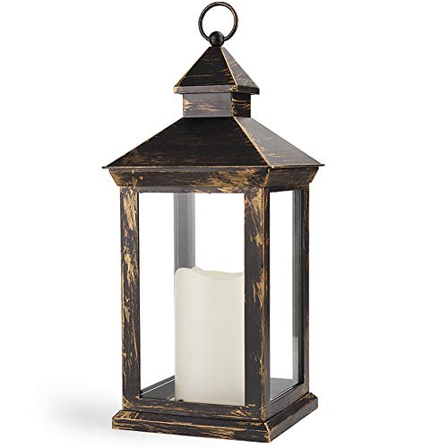 Bright Zeal 14 Inch Outdoor Lanterns With LED Candles And Timer - IP44 Waterproof Distressed Bronze Decorative Outdoor Lanterns Battery Powered - Indoor LED Lanterns Battery Operated For Wedding Table