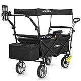 Hoberg Carrello pieghevole premium con tetto (LSF30) | portabicchieri, borsa frigo, freni, carrello a mano, carrello di trasporto [portata 80 kg / nero]