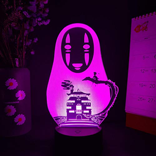 Anime 3D lamp Novelty Spirited Away No-Face Image 3D Illusion Night Light for Computer Desktop Decor Touch Sensor Lamp for Bedside Lighting-16 Color with Remote
