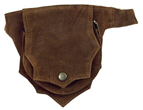 GURU SHOP Sidebag & Gürteltasche, Goa Bauchtasche - Rehbraun, Herren/Damen, Leder, Size:One Size, 17x15x3 cm, Festival- Bauchtasche Hippie