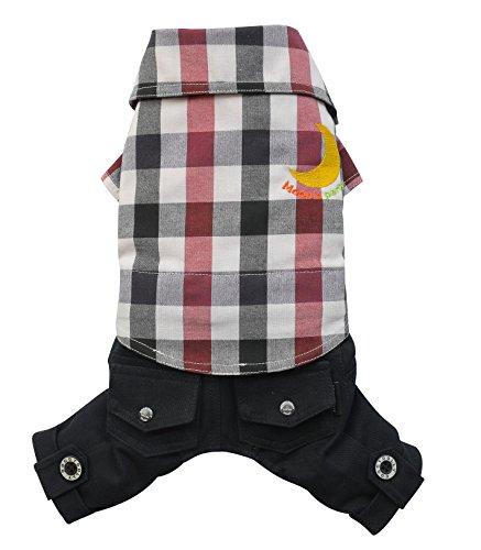 Doggy Dolly C268 hemd met broek voor honden, donkerblauw/rood geruit, XXS Brust 26-28cm, Rücken 13-15cm