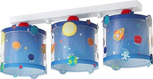 Dalber 41343 3 Light Ceiling Lamp Planets, Plastique, Bleu, 51 x 15 x 20.5 cm