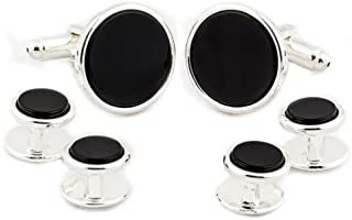 Personalised Stainless Steel Cufflinks with Onyx Stripe