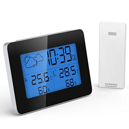 Quntis Wireless Digital Hygrometer Indoor Outdoor Thermometer Weather Station with Wireless Sensor Backlight Humidity Gauge with Alarm Clock/Clock/Weather Forecast 200ft/60m Range