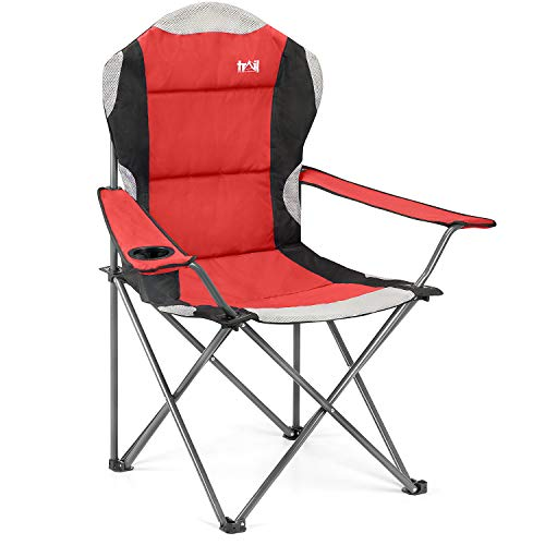 High Back Folding Camping Chair, Luxury Padded Seat, Heavy Duty Tubular Steel, Cup Holder Armrest,...