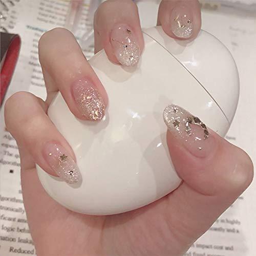 Edary Glossy Oval Künstliche Nägel Transparent Bling Bling Mond falsche Nägel Glitter-Raum-Stern Full Cover Press On Nails für Frauen und Mädchen (24X)