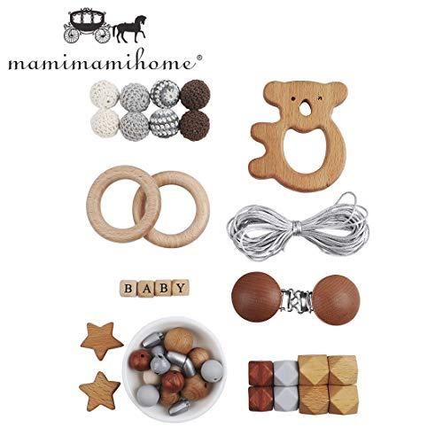 Mamimami Home DIY Baby Kinderkrankheiten Spielzeug Silikon Pflege Ring Stern Halskette Häkeln Perlen Armband Holz Olivenöl Koala Schnuller Clips Kaubares Intellektuelles Spielzeug