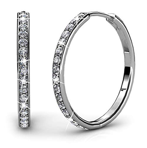 Cate & Chloe Bianca 18k White Gold plated brass Hoop Earrings with Swarovski Crystals, Crystal Drop Dangle, Sparkle Round Small Hoop