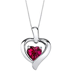 Sterling Silver Heart in Heart Pendant In Ruby Colored Stone