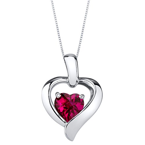Peora Created Ruby Pendant Necklace in Sterling Silver, Heart in Heart Shape Design, 6mm, 1.15 Carats with 18 inch Chain