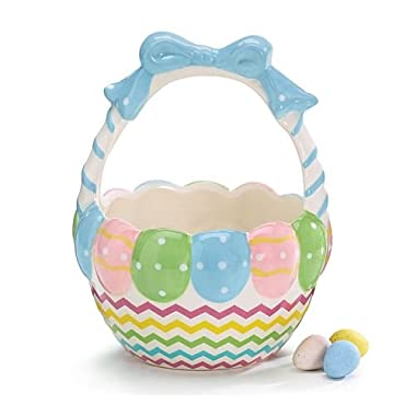 Ceramic Easter Egg Basket Candy Dish Holiday Home Decor