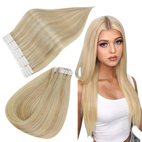 Easyouth Tape Extension Capelli Remy Human Hair Blonde Great Lengths Ombre Real Hair Colore Biondo Scuro Cenere Mix Bionda Media e Platinum Blonde 18pollici 40g Seamless Tape ins Extensions Extensions