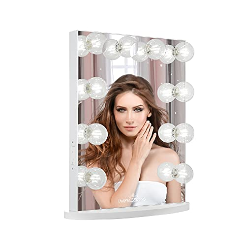 Impressions Hollywood Glow Lite Vanity Mirror with 10 LED Lights and Dimmer Switch, Tabletop or Wall Mounted Makeup Vanity Mirror with Power Outlets (White)