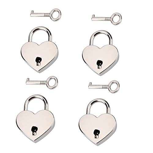 Schneespitze 4 Pcs Liebesschloss In Herzform,Metal Heart Shaped Herz Form Vorhängeschloss Mini Schlüsselschloss Schließfach Vorhängeschloss ideales Hochzeitsgeschenk