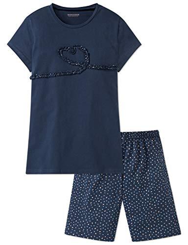 Schiesser Mädchen Anzug kurz Zweiteiliger Schlafanzug, Blau 800, 164 (Herstellergröße: M)