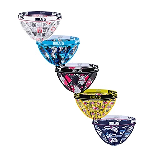 Men's Striped Bikini Briefs 5 Pack Classic Low Rise Stretchy Comfortable Briefs Underwear