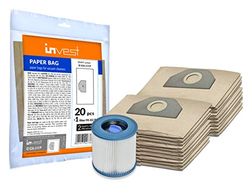 Invest 20 bolsas de aspiradora + filtro para Kärcher MV 3, WD 3, 6.959-130, WD 3.200, WD 3.500, A2201, 2504, 2204