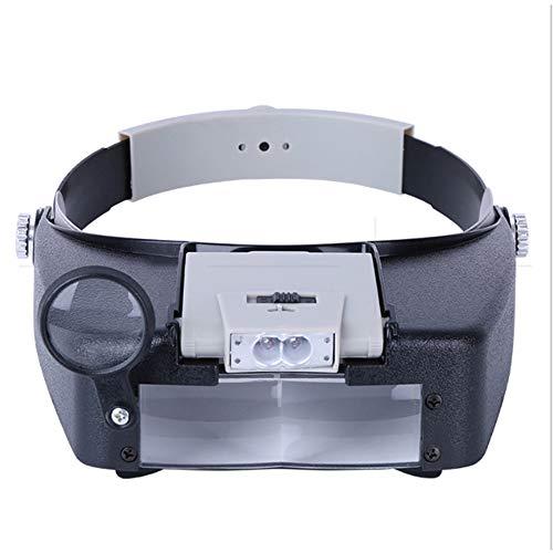 YI'HUI Lupenbrille Mit Licht Hände Frei Kopfband Lupen Mit LED Lichts Für Hobby,Denest,Elektriker,Juweliere,Nähen,Handwerk,Und Ältere Menschen-Wechselobjektive (1.5X Bis 11X),Schwarz