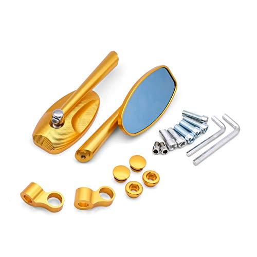 LAIQIAN Espejo Trasero De Motocicleta Fit For Grom CB190R CBR250R Yamaha FZ1 FZ6 YBR 125 BMW F800r Espejos Laterales De Aluminio De Calidad para Moto Espejo Retrovisor De Vidrio Azul (Color : Gold)