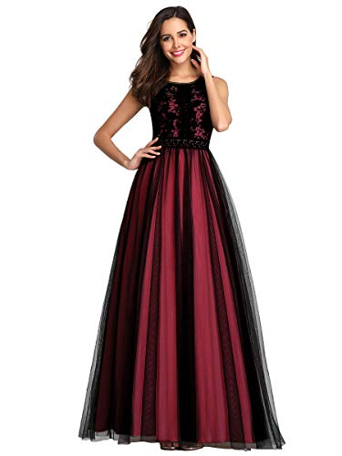 Ever-Pretty Women's A-line See-Through Floral Lace Floor-Length Evening Dress 7788