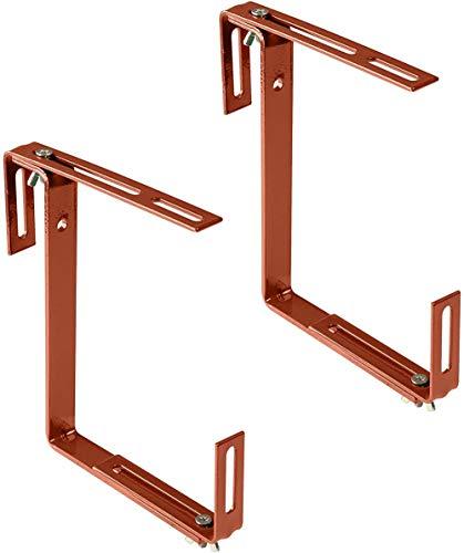 Sgualie Box Brackets in - Flower Box Halter zur Montage auf Balkonen, Fensterbänken oder Zäunen - 2-Fach verstellbare Balkonhalterungen
