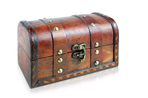 Brynnberg - Caja de Madera Cofre del Tesoro Pirata de Estilo Vintage, Hecha a Mano, Diseño Retro 17x10x10cm
