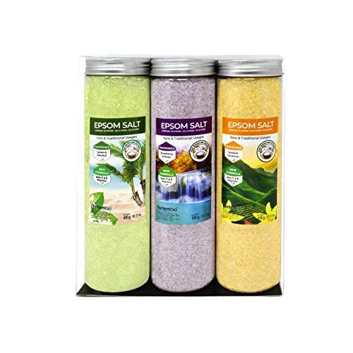 Nortembio Sels d'Epsom Pack 3 x 430 g. Fragances de Vanille, Roses, Citron. Hydratés avec de la Vitamine C et E. Sels de Bain, Aromathérapie, Thérapies par Flottaison. E-Book Inclus.