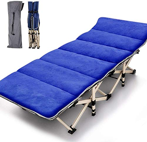 JOZTA Folding Camping Cots for Adults Heavy Duty cot with Carry Bag, Portable Durable Sleeping Bed for Camp Office Home Use Outdoor Cot Bed for Traveling (Blue with Mattress)