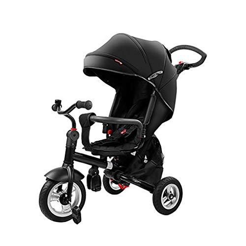 NBgy Tricycle Kinderkraft, Multifonctions Tricycle Le Siège Peut Être Pivoté,2-6 Ans Bébé en Plein Air Tricycle Conception De Parasol ,Noir