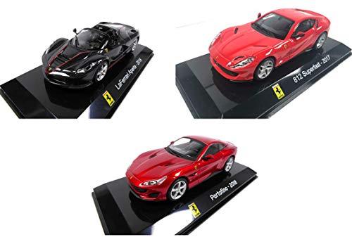 OPO 10 - Lotto di 3 Auto 1/43: Compatibile con Ferrari LaFerrari + 812 Superfast + Portofino Ixo per Edizioni Salvat (SC1 + SC6 + SC8)