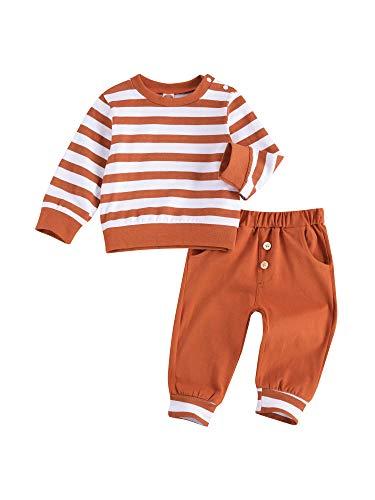 WangsCanis 2 unidades de chándal de bebé de manga larga para bebé, estilo informal, con bolsillos para otoño e invierno NARANJA 6-12 Meses