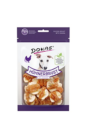 Dokas Snack de qualité supérieure sans céréales avec Poitrine de Poulet pour Chien, Banane - 1 x 70 g