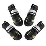 QUMY Dog Boots Shoes for Large Dogs Water Repellency with Reflective Velcro Rugged Anti-Slip Sole Black 4PCS