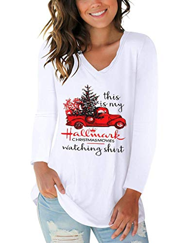 Tobrief Womens Casual Long Sleeve Christmas Tree T Shirt V Neck Blouse Tops