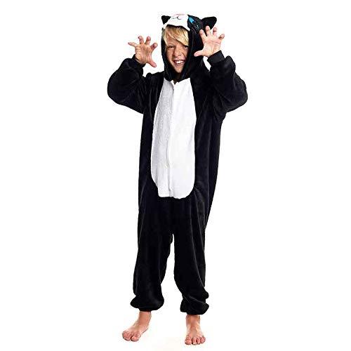 Pijamas Enteros de Animales Niñas y Niños Unisex【Tallas Infantiles 3 a 12 años】 Disfraz Gato Negro Halloween Mono Enterizo Carnaval Fiestas【Talla 10-12 años】