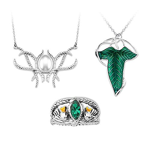 Señor de los anillos, collar con colgante de hoja de elfo, joyería elfa, regalo para mujer
