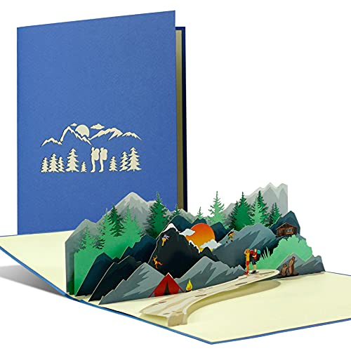 Gutschein zum Wandern I Zelten I Klettern, Einladungskarte für Wanderurlaub I 3D Pop Up Reisegutschein für Bergsteiger und Wanderer, H39AMZ