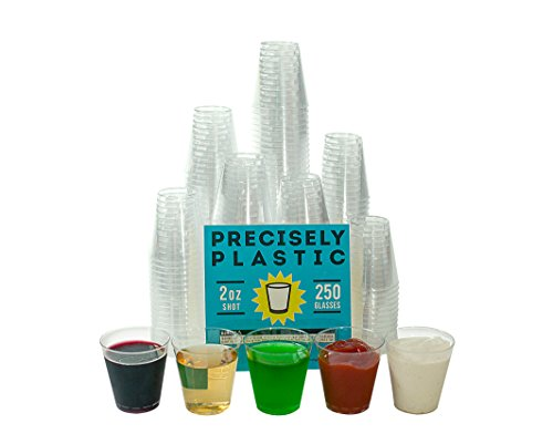 Price comparison product image 250 Shot Glasses Premium 2oz Clear Plastic Disposable Cups,  Perfect Container for Jello Shots,  Condiments,  Tasting,  Sauce,  Dipping,  Samples