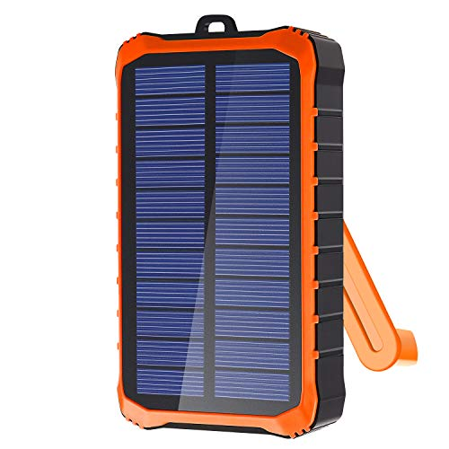 Portable Charger - Compact 12000mAh 2-Port Ultra Portable Phone Charger Power Bank with Solar, Hand Crank, and DC Charging for iPhone, iPad, Samsung Galaxy, Huawei, Xiaomi and More(Orange, Green)